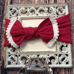 Other - Baby Girl Red & White Knot Bow Headband